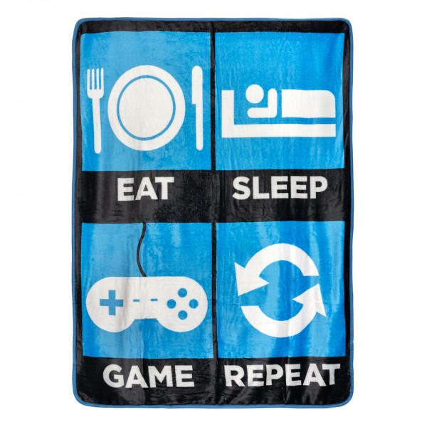 Eat Sleep Game Repeat Fleece-Kuscheldecke