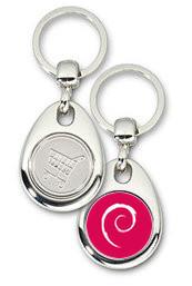 Schlüsselanhänger - Metall - Debian Logo - Einkaufswagen-Chip