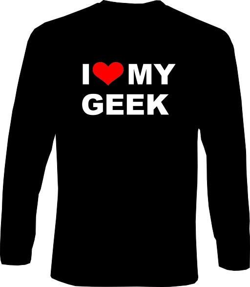Langarm-Shirt - I love my Geek