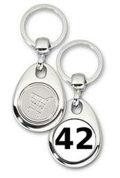 Schlüsselanhänger - Metall - 42 - Die Antwort - Einkaufswagen-Chip