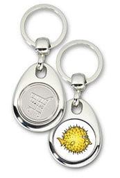 Schlüsselanhänger - Metall - OpenBSD - Einkaufswagen-Chip
