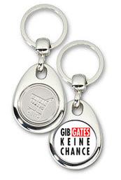 Schlüsselanhänger - Metall - Gib Gates keine Chance - Einkaufswagen-Chip-Copy