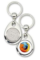 Schlüsselanhänger - Metall - Firefox - Einkaufswagen-Chip